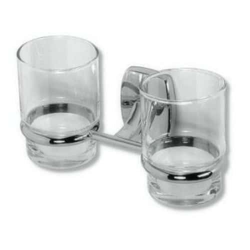 Dvojitý držák kartáčků a pasty sklo/chrom