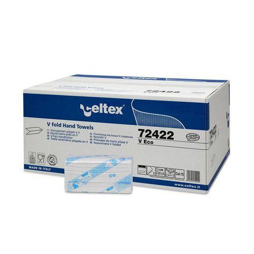 Papírové ručníky skládané Celtex V Eco 2vrstvy bílo/zelené, 3150ks