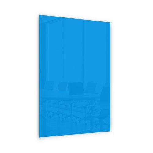 Skleněná magnetická tabule Memoboard, modrá, 200 x 100 cm - Prodloužená záruka na 10 let