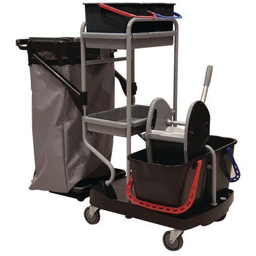 Úklidový vozík Manutan s pákovým ždímačem, 2 x 15 l + 2 x 6 l