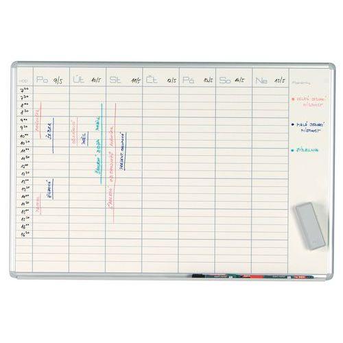 Bílá magnetická plánovací tabule ekoTAB 100 x 70 cm, týden
