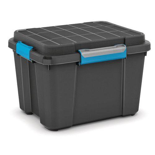 Plastový úložný box s víkem na klip Scuba, černý, 45 l - Prodloužená záruka na 10 let