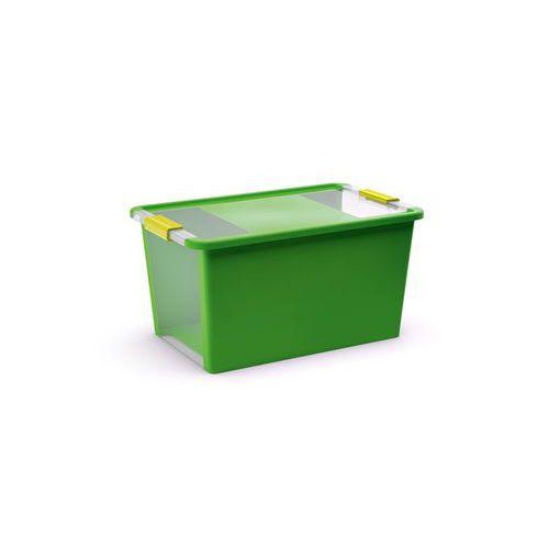 Plastový úložný box s víkem na klip Bi-Box, zelený, 40 l - Prodloužená záruka na 10 let