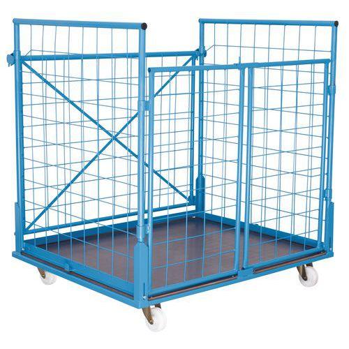 Stohovatelný pojízdný kontejner s mřížovými stěnami Quadro, do 5