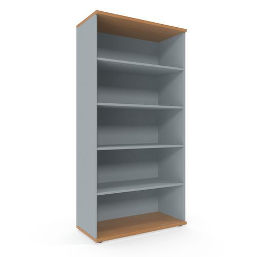 Vysoká skříň Viva, 179 x 90 x 42 cm, otevřená, buk/šedá