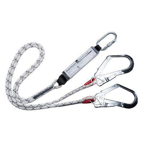 Dvojité lano Kernmantle s tlumičem pádu, bílá