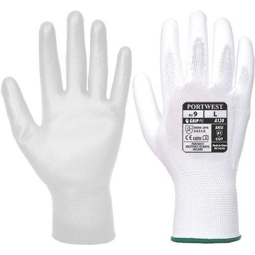 Rukavice PU dlaň, bílá