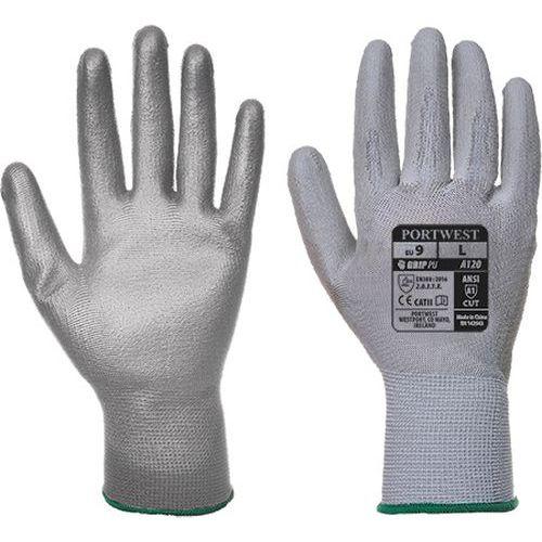 Rukavice PU dlaň, šedá, vel. XS