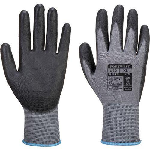 Rukavice PU dlaň, šedá/černá