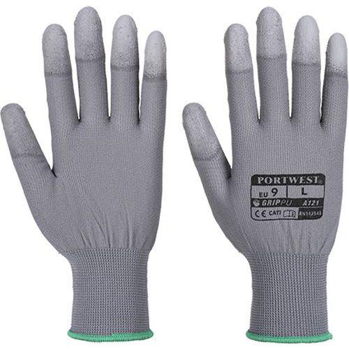 Rukavice PU Fingertip, šedá, vel. M