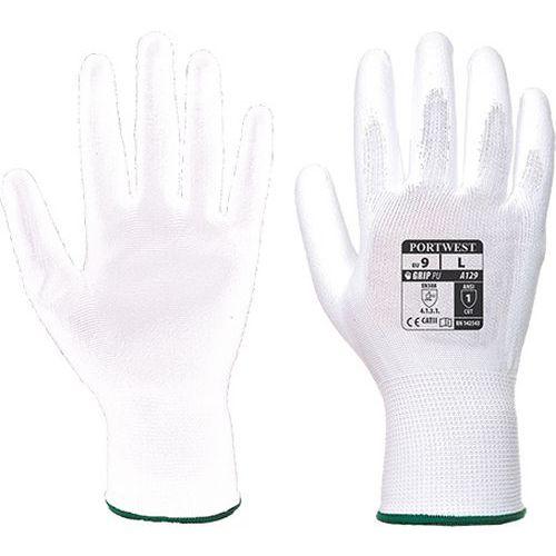 Rukavice PU dlaň (12 párů), bílá, vel. S