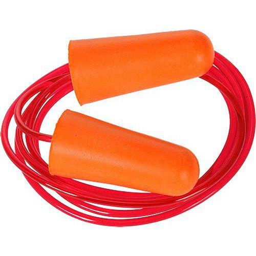 Ušní zátky PU se šňůrkou (200 párů), oranžová
