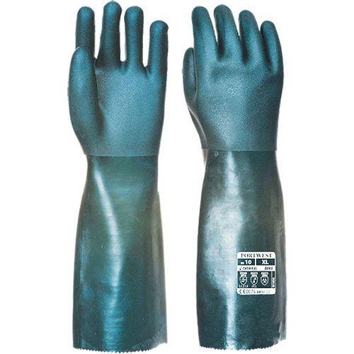 Dvakrát máčené PVC rukavice 45cm, zelená