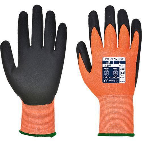 Rukavice Vis-Tex PU neprořezné, černá/oranžová, vel. M