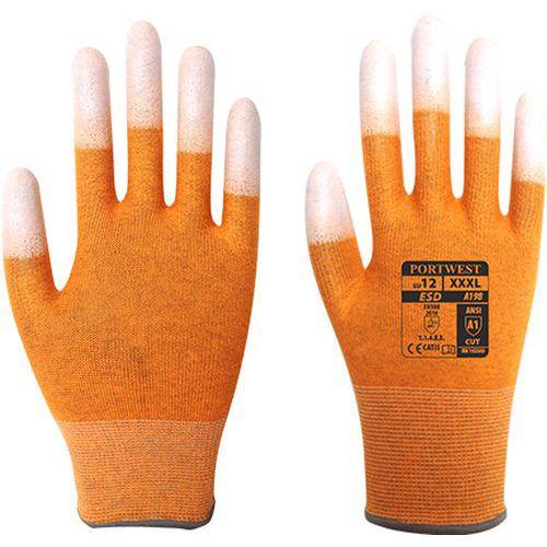 Antistatické rukavice PU Fingertip, oranžová, vel. M