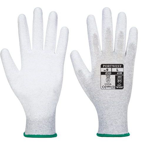 Antistatická rukavice PU dlaň, šedá, vel. M