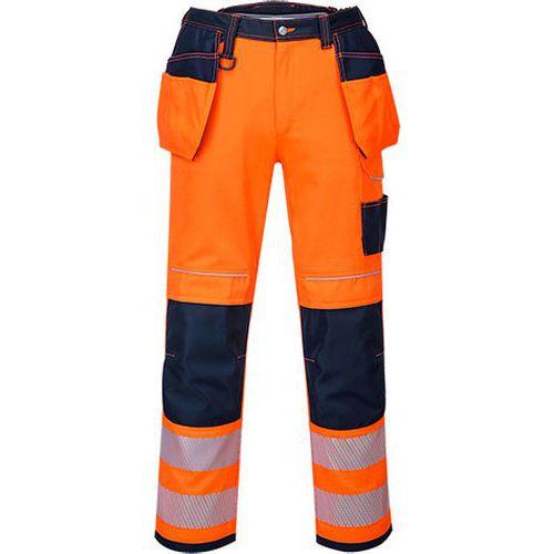 Kalhoty HiVis PW3 Holster, modrá/oranžová, zkrácené, vel. 56