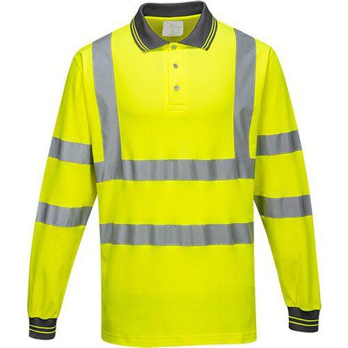 Reflexní polokošile s dlouhým rukávem Cotton Comfort Plus Hi-Vis, žlutá