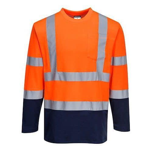 Dvoubarevné triko Cotton Comfort s dlouhým rukávem, modrá/oranžo