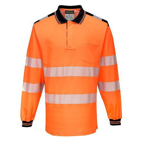 PW3 Hi-Vis polokošile L/S, černá/oranžová, vel. XXL