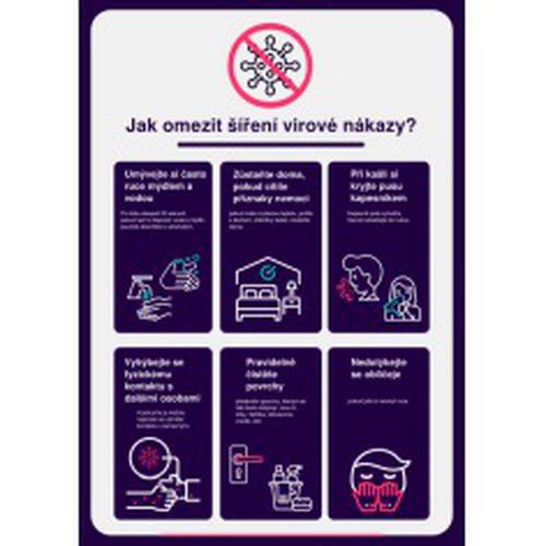 Poster - Plakát k omezení šíření virové nákazy, samolepka, 297 x