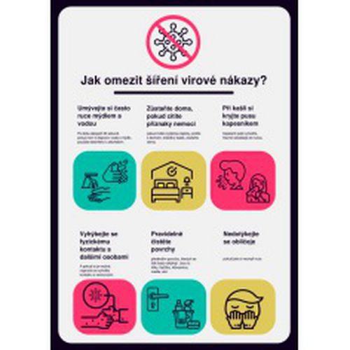 Poster - Plakát k omezení šíření virové nákazy, plast, 297 x 210