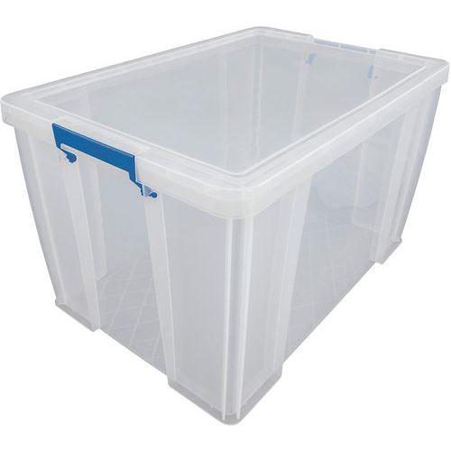 Plastové úložné boxy s víkem na klip Manutan, 85 l - Prodloužená záruka na 10 let