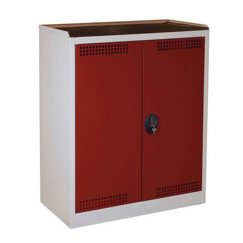Skříň na uskladnění chemikálií, 1180 x 950 x 500 mm, šedá/červen
