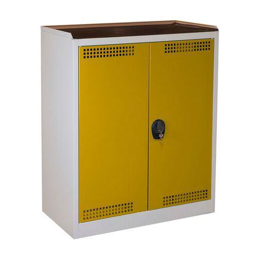 Skříň na uskladnění chemikálií, 1180 x 950 x 500 mm, šedá/žlutá