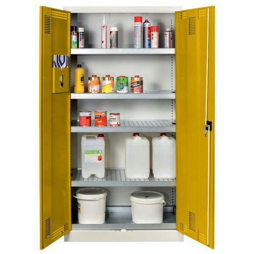 Skříň na uskladnění chemikálií, 1950 x 950 x 500 mm, šedá/žlutá