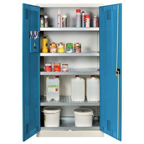 Skříň na uskladnění chemikálií, 1950 x 950 x 500 mm, šedá/modrá