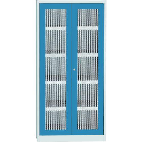 Skříň s drátěnými dveřmi na uskladnění chemikálií, 1950 x 950 x 500 mm, šedá/modrá