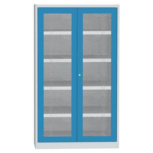 Skříň s drátěnými dveřmi na uskladnění chemikálií, 1950 x 1200 x 500 mm, šedá/modrá