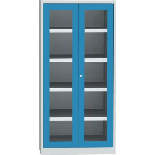 Skříň se skleněnými dveřmi na uskladnění chemikálií, 1950 x 950 x 500 mm, šedá/modrá