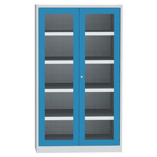 Skříň se skleněnými dveřmi na uskladnění chemikálií, 1950 x 1200 x 500 mm, šedá/modrá