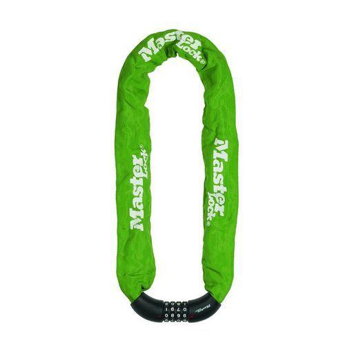 Řetězový kombinační zámek na kolo Master Lock 8mm, zelený