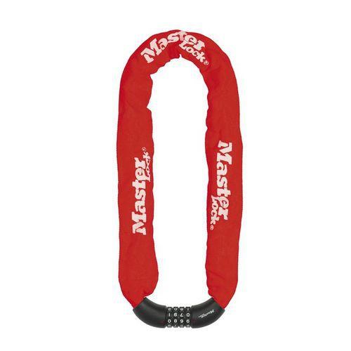 Řetězový kombinační zámek na kolo Master Lock 8mm, červený
