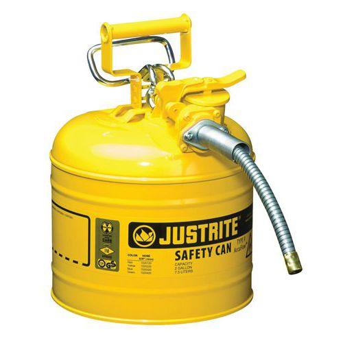 Bezpečnostní nádoba na hořlaviny Justrite s hadicí, žlutá, 7,5 l