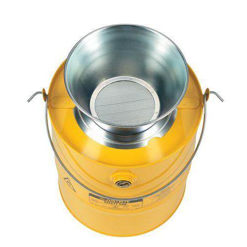 Bezpečnostní nádoba na hořlavé látky Justrite s trychtýřem, žlut