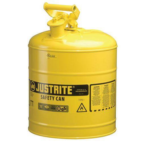 Bezpečnostní nádoba na hořlaviny Justrite bez úchytu, žlutá, 9 l