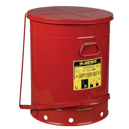 Kovový odpadkový koš pro hořlavé a nebezpečné látky Justrite, objem 80 l