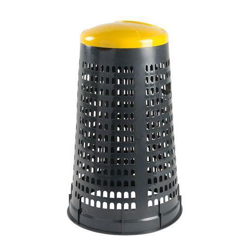 Mobil Plastic Stojan Element na odpadkové pytle s víkem, šedý/žlutý