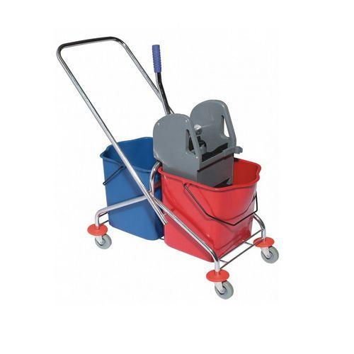 Úklidový vozík s pákovým ždímačem, objem 2 x 20 l