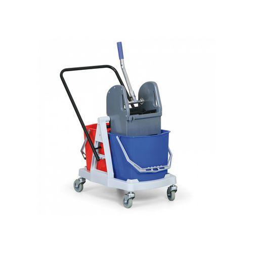Plastový úklidový vozík s pákovým ždímačem, objem 2 x 15 l
