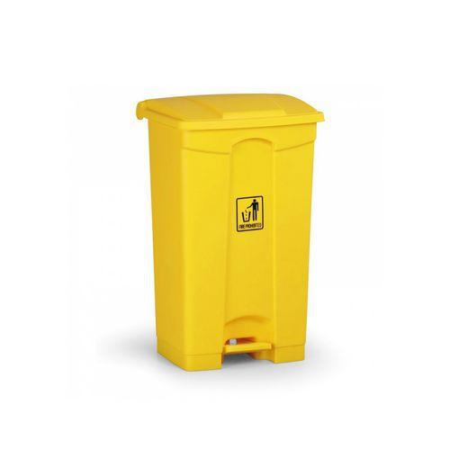 Plastový odpadkový koš Leo, objem 87 l, žlutý