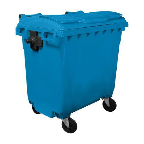 Plastová venkovní popelnice Manutan, objem 770 l, modrá