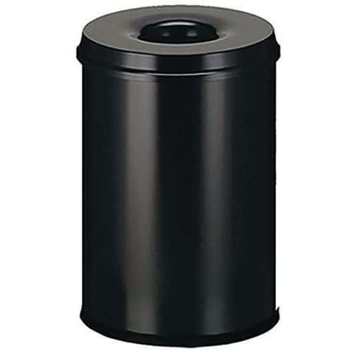 Kovový samozhášecí odpadkový koš Manutan Safe, objem 110 l, čern