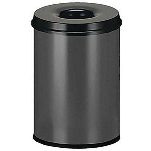 Kovový samozhášecí odpadkový koš Manutan Safe, objem 30 l, šedý/