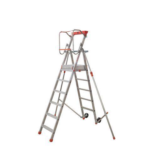 Pojízdný hliníkový plošinový žebřík Facal s držákem, 6 stupňů