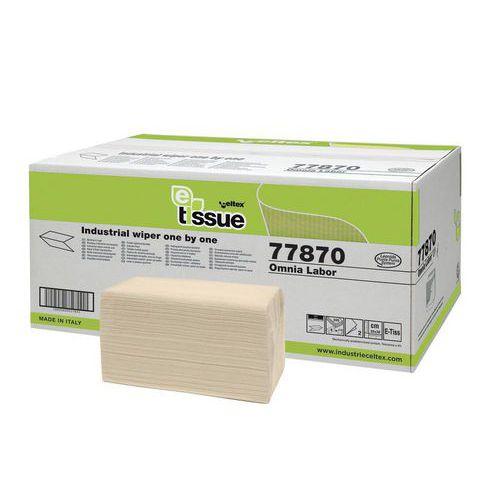 Papírové ručníky skládané Celtex Omnia Labor E-Tissue 2vrstvy, béžové, 2400ks